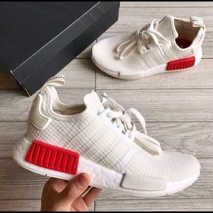 big sale 1dff4 e50a9 NEW Adidas NMD R1 Off White Lush Red NWT